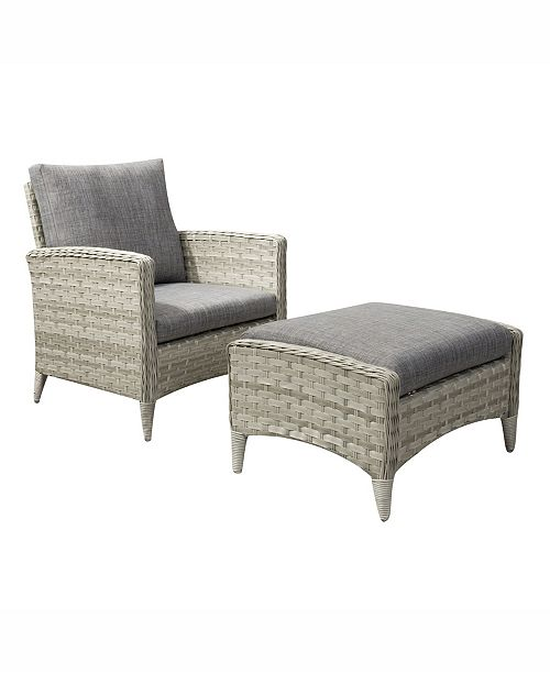 Corliving Distribution Parkview 2 Piece Wide Rattan Wicker Chair and Stool Patio Set