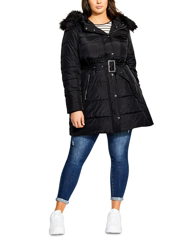 City Chic Trendy Plus Size Hooded Longline Puffa Jacket With Faux-Fur Trim