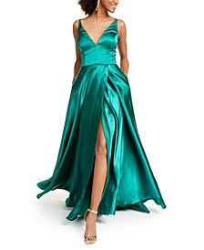 Juniors' Satin Lace-Up Plunge Gown