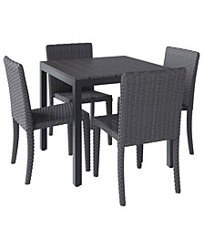 Brisbane 5 Piece Outdoor Square Dining Set
