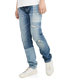 Men's Slim-Fit Tapered Laser Patchwork Jeans