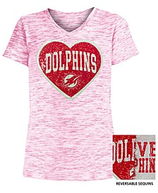 Big Girls Miami Dolphins Heart Flip Sequin T-Shirt