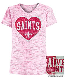Big Girls New Orleans Saints Heart Flip Sequin T-Shirt