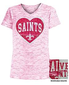 Big Girls New Orleans Saints Heart Flip Sequin T-Shirt