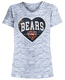 Big Girls Chicago Bears Heart Flip Sequin T-Shirt