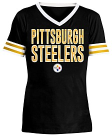 Big Girls Pittsburgh Steelers Sequin Stripe T-Shirt