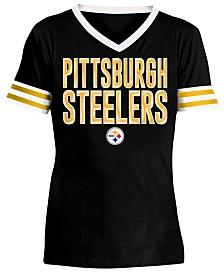 5th & Ocean Big Girls Pittsburgh Steelers Sequin Stripe T-Shirt