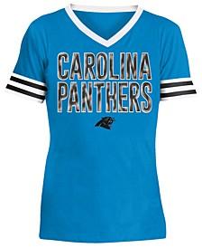 Big Girls Carolina Panthers Sequin Stripe T-Shirt