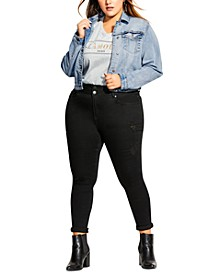 Trendy Plus Size Stretch Denim Jacket