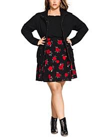 Trendy Plus Size Cotton Drawstring-Waist Jacket