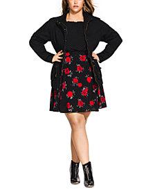 City Chic Trendy Plus Size Cotton Drawstring-Waist Jacket