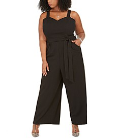 Trendy Plus Size Sleeveless Belted Wide-Leg Jumpsuit