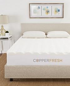 """CopperFresh Queen 3"""" Wave Foam Mattress Topper"""