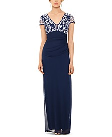 Cap-Sleeve Lace-Top Gown
