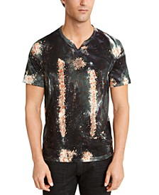 I.N.C. Men's Space Graphic Split-Neck T-Shirt, Created For Macy's