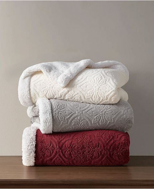 Martha Stewart Collection Solid Reversible Sherpa Throw, Created for Macy's