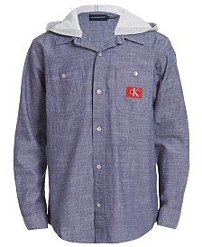 Calvin Klein Jeans Big Boys Iconic Hooded Denim Shirt