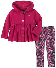 Little Girls 2-Pc. Hooded Jacket & Floral-Print Leggings Set