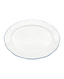 "Amelie Royal Blue Rim 14"" Oval Platter"