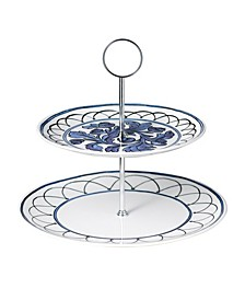Blue Bird 2-Tiered Cake Stand