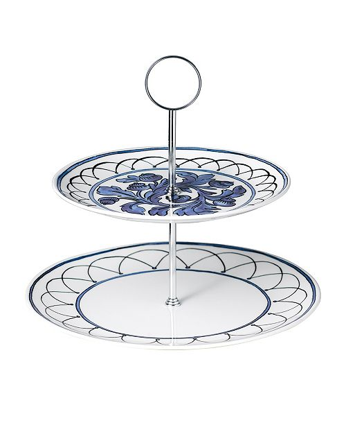 Twig New York Blue Bird 2-Tiered Cake Stand