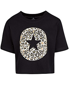 Big Girls Cotton Leopard-Print-Patch T-Shirt