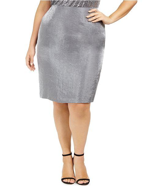 Kasper Plus Size Metallic Pencil Skirt