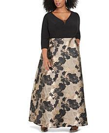 Plus Size Metallic Floral-Print Gown
