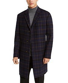 Men's Raburn Slim-Fit Navy Blue Windowpane Overcoat