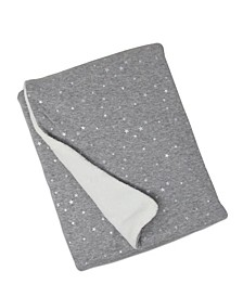 Metallic Star Print Jersey and Sherpa Baby Blanket