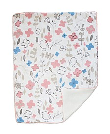 Mazie Sherpa Lined Floral Baby Blanket