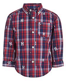 Baby Boys Cotton Logo-Print Plaid Shirt