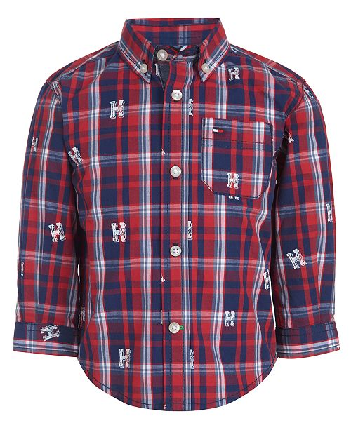 Tommy Hilfiger Baby Boys Cotton Logo-Print Plaid Shirt