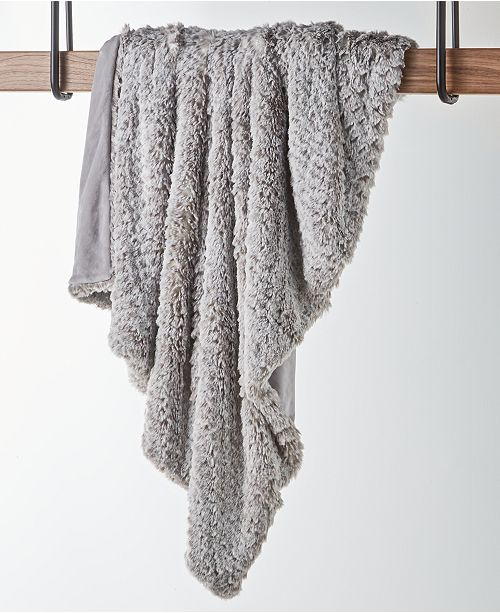 Hotel Collection CLOSEOUT! Textured Faux-Fur Throw, Created for Macy's