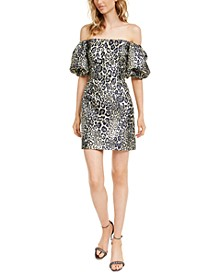 Off-The-Shoulder Animal-Print Jacquard Dress