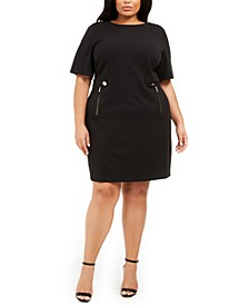 Plus Size Zippered-Pocket Dress