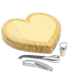 Picnic Time Heart Cutting Board with Wine & Cheese Tools