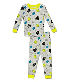 Boys Toddler, Little and Big Monster Print 2 Piece Cotton Pajama Set with Grow with Me Cuffs