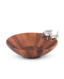Wood Salad Serving Bowl with Pewter Crab