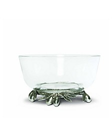 Dip, Olive Glass Bowl Pewter Bowl with Pewter Olive Base