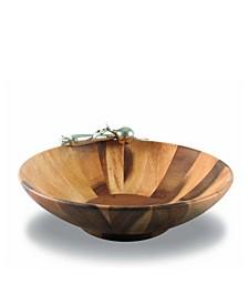 Garden Veggie Wood Salad Serving Bowl