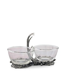 Dip, Nut, Sauce, Condiment Bowl Double Removable Glass Bowl with Solid Pewter Rustic Antler Handle