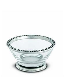 Glass Dip Sauce Bowl, Pewter Beaded Band Rim