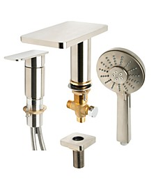 Brushed Nickel Deck Mounted Tub Filler with Hand Held Showerhead