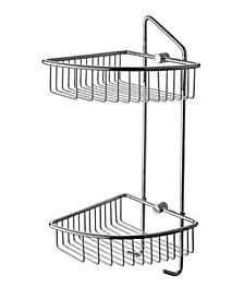 Polished Chrome Corner Mounted Double Basket Shower Shelf Bathroom Accessory