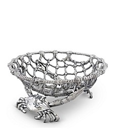 "Fruit Centerpiece Basket ""Crab and Net"" Ocean, Seacoast Aluminum Hand Polished"