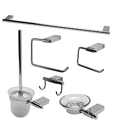 Polished Chrome Matching Bathroom Accessory Set, 6 Piece