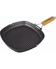 Non-Stick Cast Aluminum Grill Pan with Folding Wooden Handle, 11""