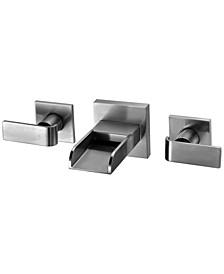Brushed Nickel Widespread Wall Mounted Modern Waterfall Bathroom Faucet