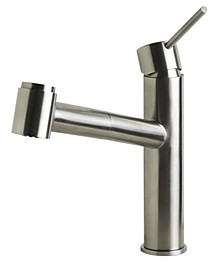 Brushed Stainless Steel Kitchen Faucet with Pull-Out Spray